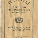 """Despre statutele """"Reuniunii meseriasilor romani din Orastie"""""""