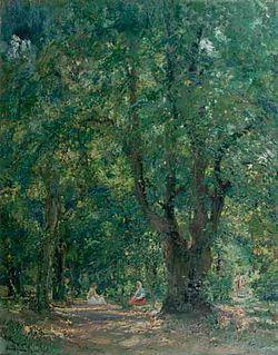 Arthur Verona a fost inspirat in picturile sale de peisajele din Herta. In imagine o lucrare intitulata In codrii Hertei