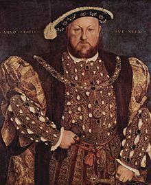Portret al lui Henric VIII realizat de hans Holbein
