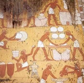 Egiptologii sunt de parere ca in imaginea veche de vreo 4 milenii este prezentat procesul prepararii branzei.