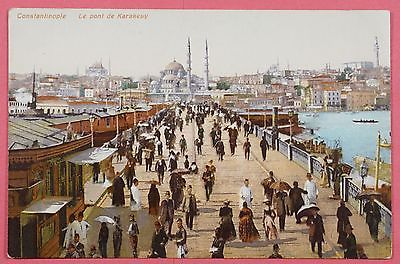 Vintage-Turkey-Pc-Constantinople-Le-Pont-De-Karakeuy